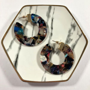 Tennessee Bellee Boutique Jewelry - Cardi Multi-Colored Thick Circle Stud Hoop Earring